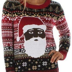 Tipsy Elves Black Santa Ugly Xmas Sweater - M